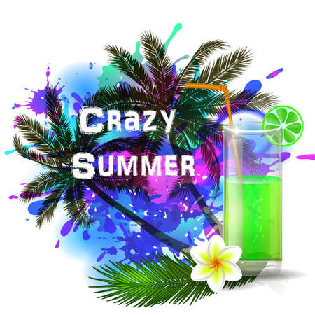 inkblot: Crazy Summer background with green juice on abstract inkblot  splash with straw and flower