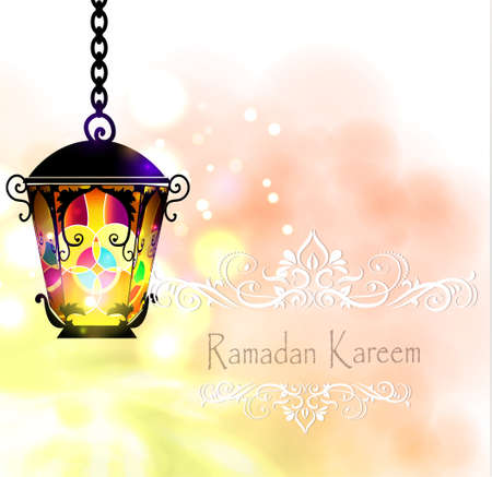 community event: Ramadan Kareem, greeting background with pattern and colorful stained glass  light