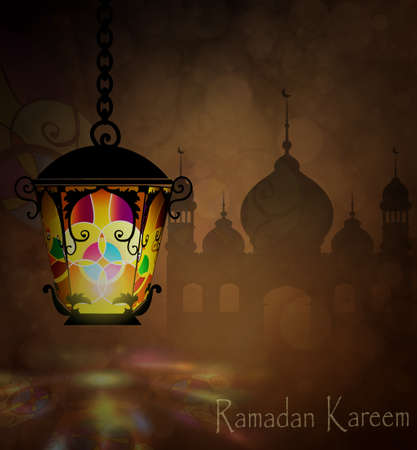 Ramadan Kareem, greeting background with pattern and colorful stained glass  light  and Silhouette of  mosque