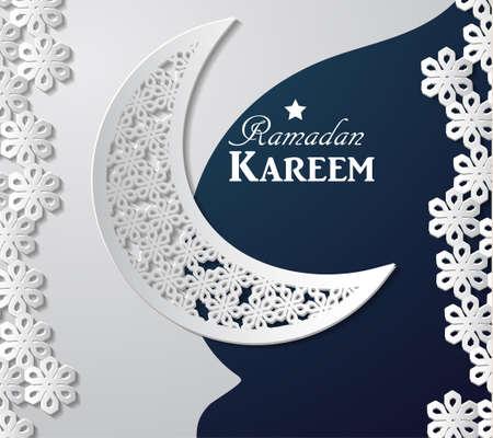 白と青の紙にラマダン カリームのアラビア図