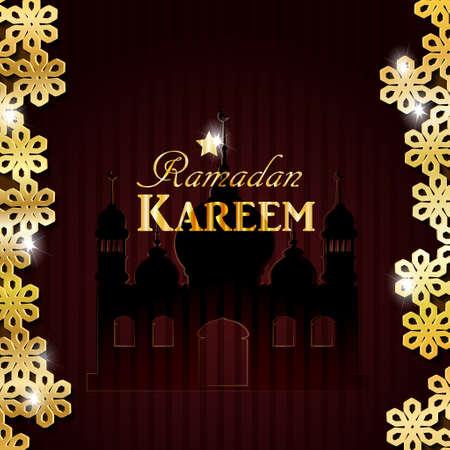 islamic pattern: Vector illustration Silhouette of mosque on dark background with golden Ramadan Kareem