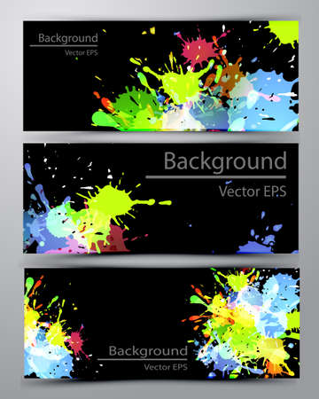 inkblot: Abstract inkblot colorfull colorful bannerson black with spluches