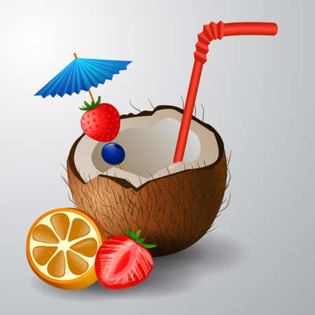 freshens: Exotic coconut cocktail isolated on a white background