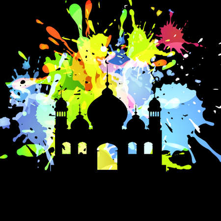 inkblot: Silhouette of mosque on Abstract inkblot colorfull background on black with spluches