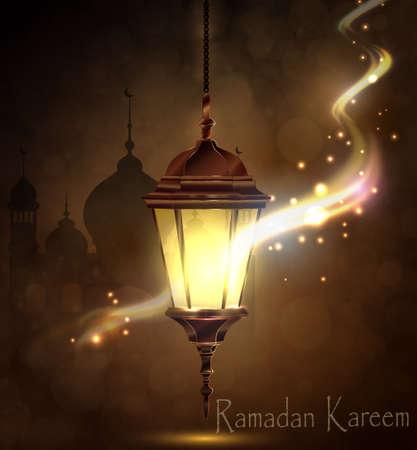 Ramadan Kareem, greeting background with pattern and light Mosque silhouette and magic light Ilustração
