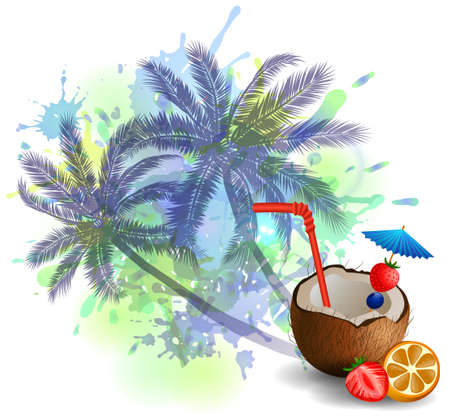 freshens: Exotic coconut cocktail isolated on aabstract inkblot background with palms Illustration