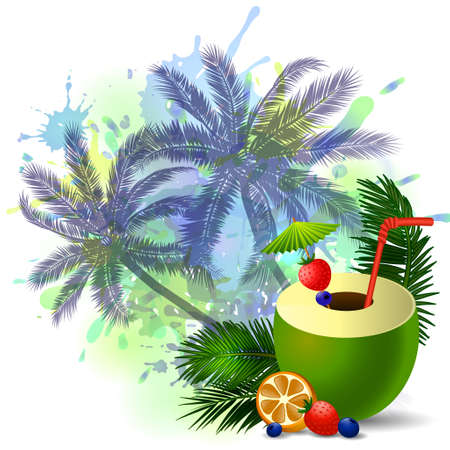 freshens: Exotic green coconut cocktail isolated on aabstract inkblot background with palms Illustration