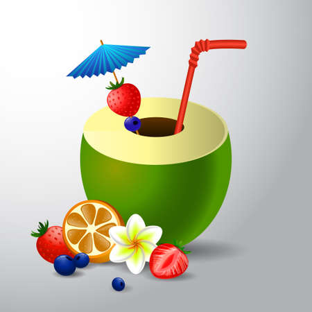 frangipani flower: Fresh drinking coconut with a straw, cocktail umbrella and a frangipani flower and fruits and berries