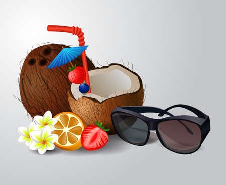 freshens: Exotic coconut cocktail isolated on a white background with fruit and sunglasses
