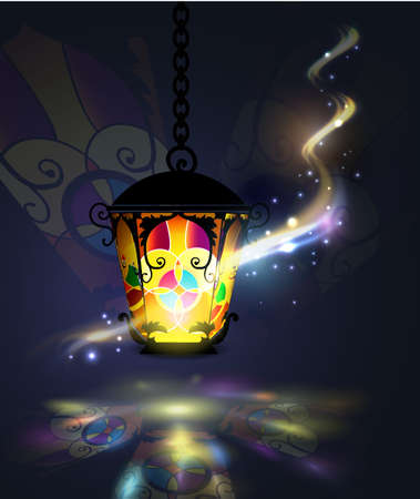Ramadan Kareem, greeting background with pattern and colorful stained glass  light and magic light