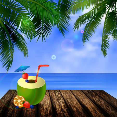 clouds sky: tropical vector background with leaves of palm trees summer sky  clouds exotic beverage and fruit on wooden deck