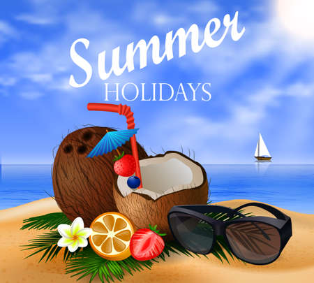 freshens: Exotic coconut cocktail on a beach background with fruit and sunglasses and a boat Illustration
