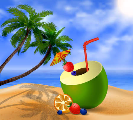 cocktail umbrella: Fresh drinking coconut with a straw, cocktail umbrella and  fruits and berries on a beach
