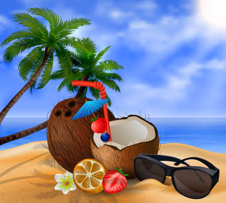 freshens: Exotic coconut cocktail on a beach background with fruit and sunglasses and two palms