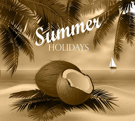 cuted: Coconut tropical nut fruit with cut vector illustration on a beach  background with tropical palm leaves and a boat in monochrome in retro photo style Illustration