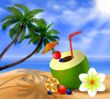 young tree: Fresh drinking coconut with a straw, cocktail umbrella and  fruits and berries on a beach
