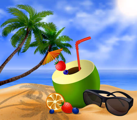 cocktail umbrella: Fresh drinking coconut with a straw, cocktail umbrella sunglasses and  fruits and berries on a beach Illustration