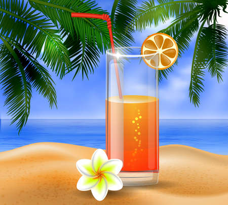 clouds sky: tropical vector background with leaves of palm trees summer sky  clouds exotic beverage and fruit on a beach Illustration