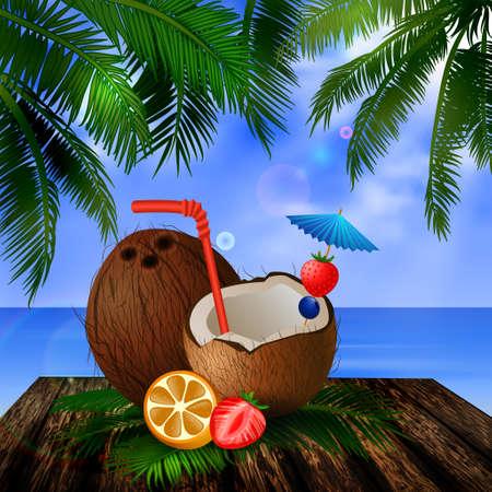 tropischen Vektor-Hintergrund mit Blättern der Palmen Sommerhimmel Wolken exotische Getränke und Obst cocnut auf Holzdeck