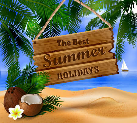 hanging wooden board on tropical background and exotic cocnuts Иллюстрация