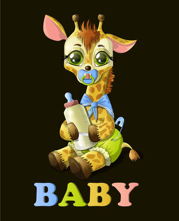 Cute baby giraffe with botle of milk navy tie and pacifier on dark background