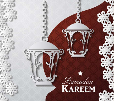 islamic pattern: Arabic illustration of Ramadan Kareem on white and red paper with Silhouette of mosque and paper lights
