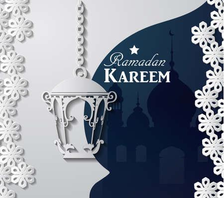 islamic pattern: Arabic illustration of Ramadan Kareem on white and blue paper with Silhouette of mosque and paper light