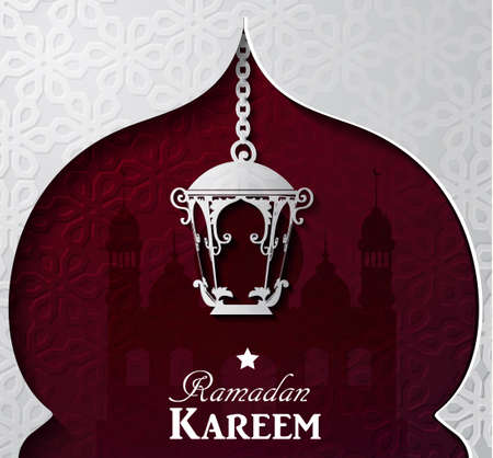 islamic pattern: Vector illustration Silhouette of mosque and paper light on dark red background in paper window