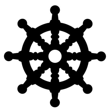 ship steering wheel silhouette on white background icon isolated Illustration