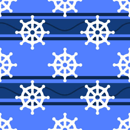 Steering Wheel seamless pattern vector illustration on blue with abstract waves