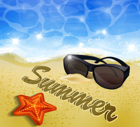 sun glasses: Beautiful beach top view with starfishes vector illustration sun glasses