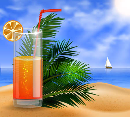cuted: a beach background with tropical palm leaves and an orange juice glass Illustration
