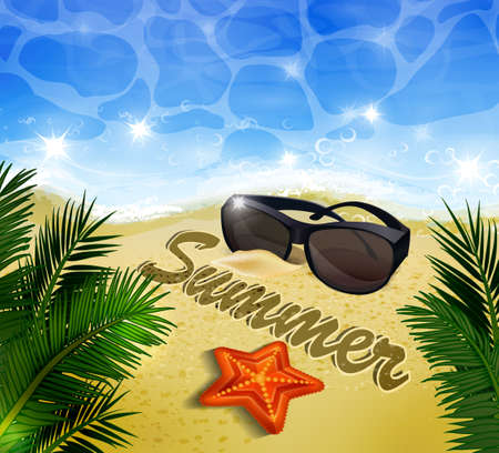 sun glasses: Beautiful beach top view with starfishes vector illustration sun glasses and palm leaves