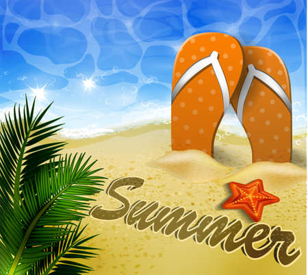 beach top view with starfishes illustration flip flops and palm leaves