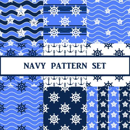 navy seamless pattern in blue color set Stock Illustratie
