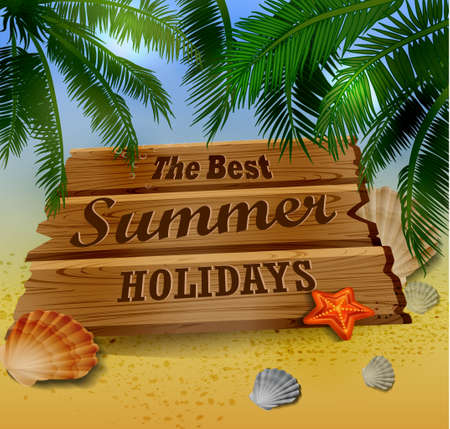 beach top view with starfish palm leaves and wooden board illustration Ilustracja