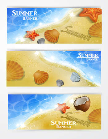 natures: Travel and vacation vector banners with tropical natures Illustration