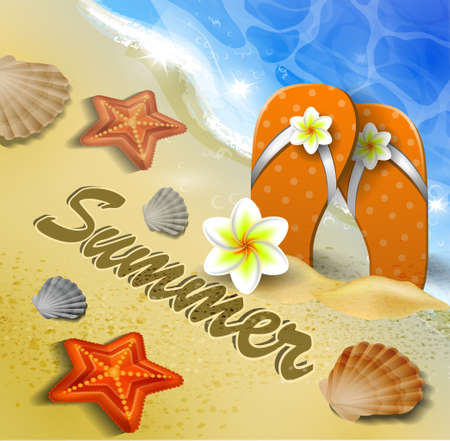 flops: Beautiful beach top view with starfishes and orange flip flops vector illustration