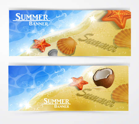 cockleshell: Travel and vacation vector banners with tropical natures set