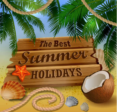 Beautiful beach top view with starfish palm leaves rope and wooden board vector illustration