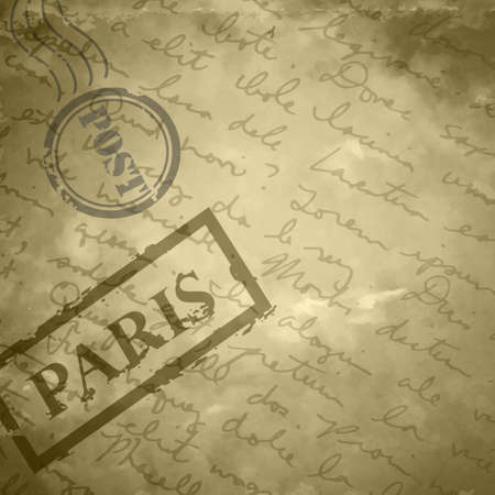 old letter: Light beige grange scratched background old paper with stamps post and Paris hand-drawn