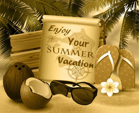 wood board: tropical vector background with summer sky and clouds wooden desk old paper coconut flipflops and sunglasses on a sand beach in monochrome