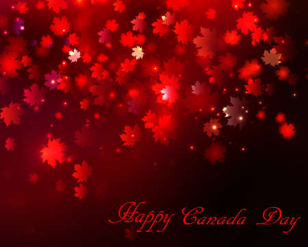 Happy Canada Day background magic maple leaves rain Vectores