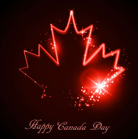 Neon maple leaf on the dark background for canada day Çizim