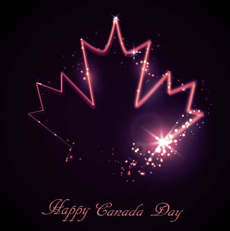Neon maple leaf on the dark background for Happy canada day