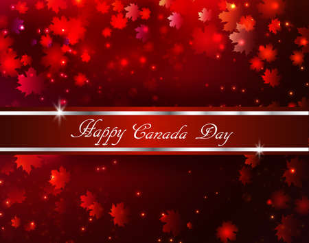 Happy Canada Day background magic maple leaves rain with red and gold ribbon