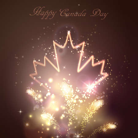 red light district: Neon maple leaf on the dark background for canada day with firework