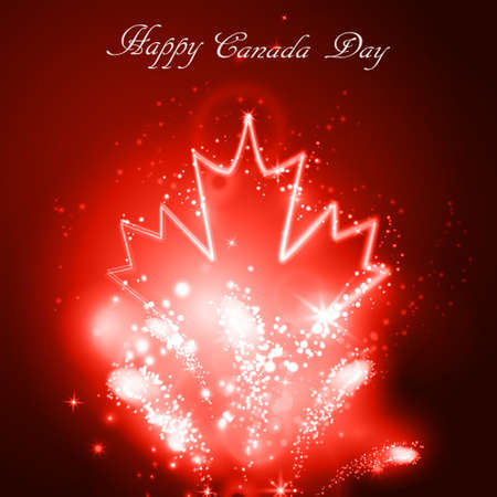 Neon maple leaf on the dark background for canada day with firework