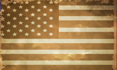 flagged: grunge flag of USA in black and white photo style vector illustration