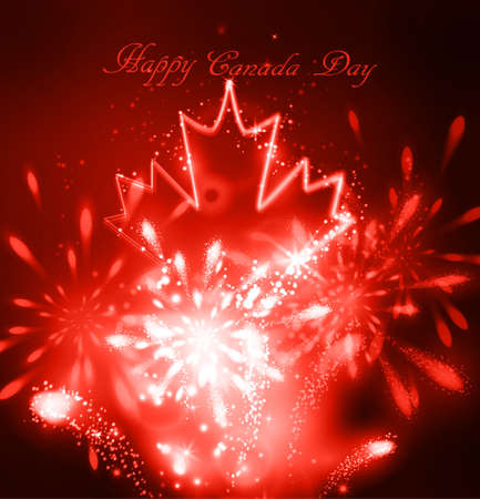 Neon maple leaf on the dark background for canada day with fireworks